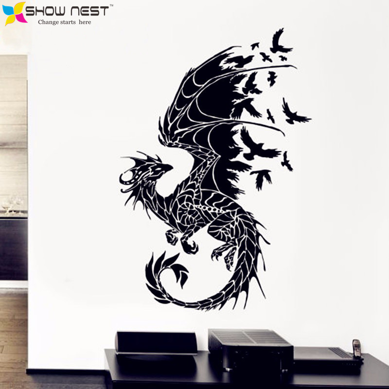 Dragon birds fantasy fairytale gothic wall decals vinyl stickers home decor kids wall stickers stikers for wall decoration diy in wall stickers from home