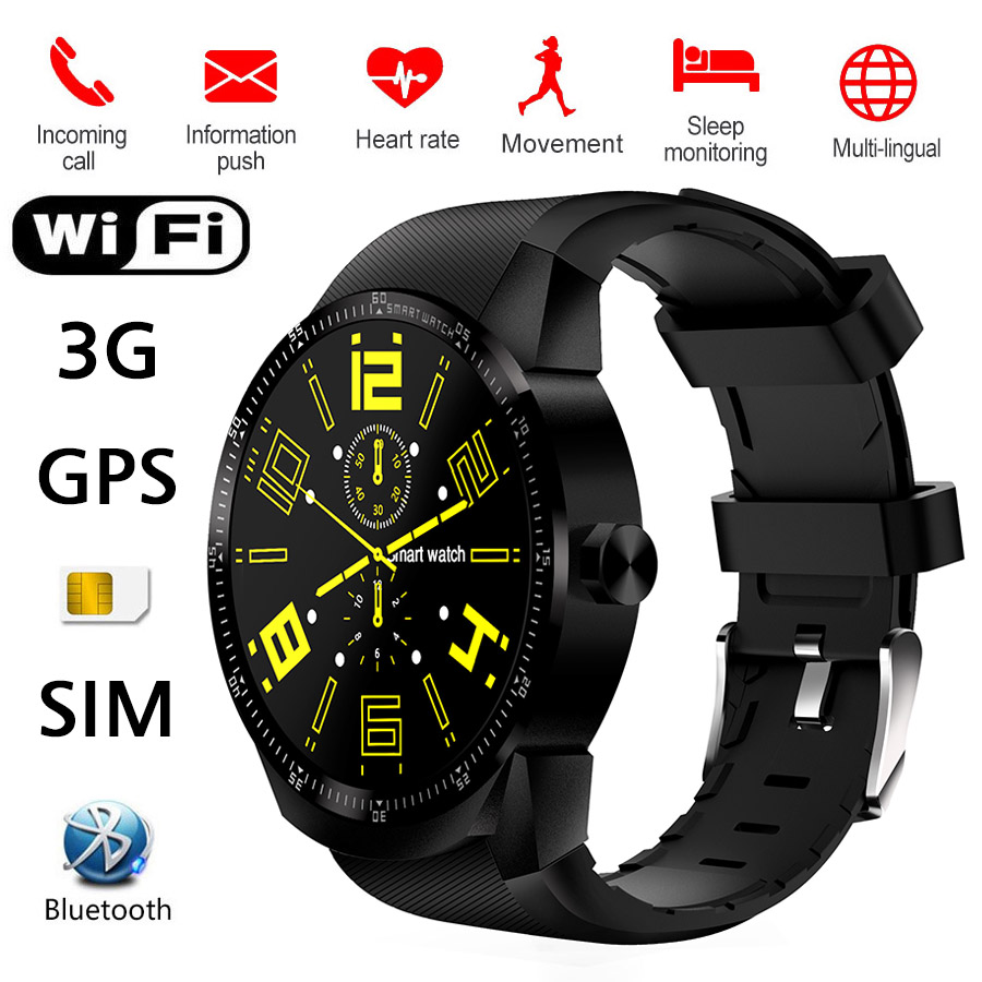 3G Smartwatch WiFi Smart Watch K98H GPRS GPS Heart Rate Fitness Tracker Bluetooth SIM For Android IOS iphone Apple KW18 Upgrade 3g smart watch finow k9 android 4 4 bluetooth wcdma wifi gps sim smartwatch colock phone for ios