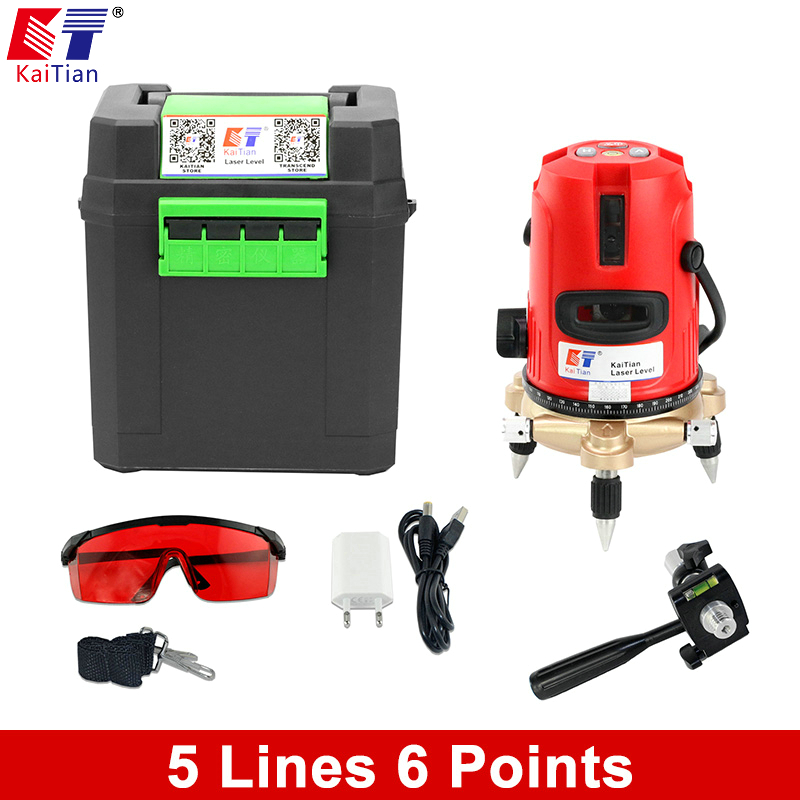Kaitian 5 lines 6 points 360 Rotary 635nm Self leveling Laser Level  outdoor  Tilt slash Vertical Horizontal lines Beam Bracket quality mtian level laser 5 lines 6 points instrument levels 360 self rotary 635nm corss line lazer level tools fast delivery