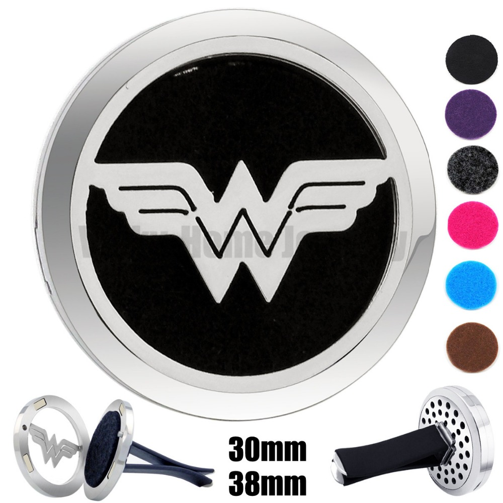Hot 30mm-38mm Wonder Woman Magnet Diffuser 316 Stainless Steel Car Aroma Locket Free Pads Essential Oil Car Diffuser Lockets