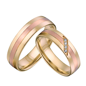 Top quality Custom bridal Alliances wedding Rings pair set for couples men and Women rose gold color titanium jewelry