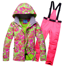2019 Winter Snow Jacket Ski Suit Women Snow pants and Jacket Waterproof windproof Colorful Clothing snowboard Games цены