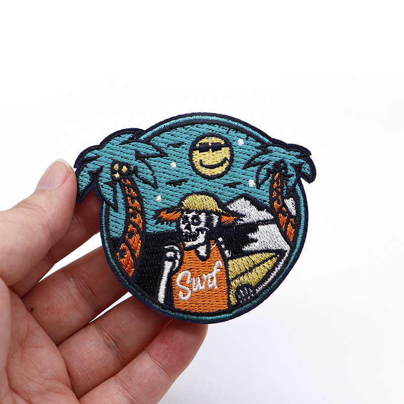 Summer Travel Sea Beach Skull Embroidery Patch Iron On Patches For Clothes DIY Accessory Bag Applique Armband Book Stickers S33 5