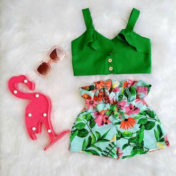 Emmababy Brand Toddler Baby Girls Floral Vest Falbala Sleeveless Off Shoulder Crop Tops Floral Printed Shorts Outfits Clothes