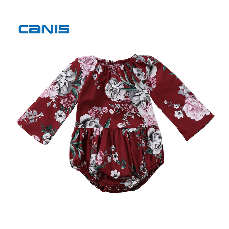 Baby Girls Clothes Baby Girl Cotton Long Sleeve Romper Floral Printed Jumpsuit Romper Baby Clothes