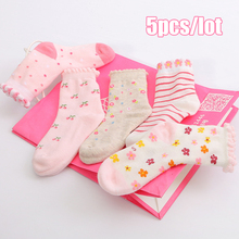 Children Socks new Free shipping 100% cotton non slip character kids Thickening sock 3-5year girls clothes 5 pair wholesales