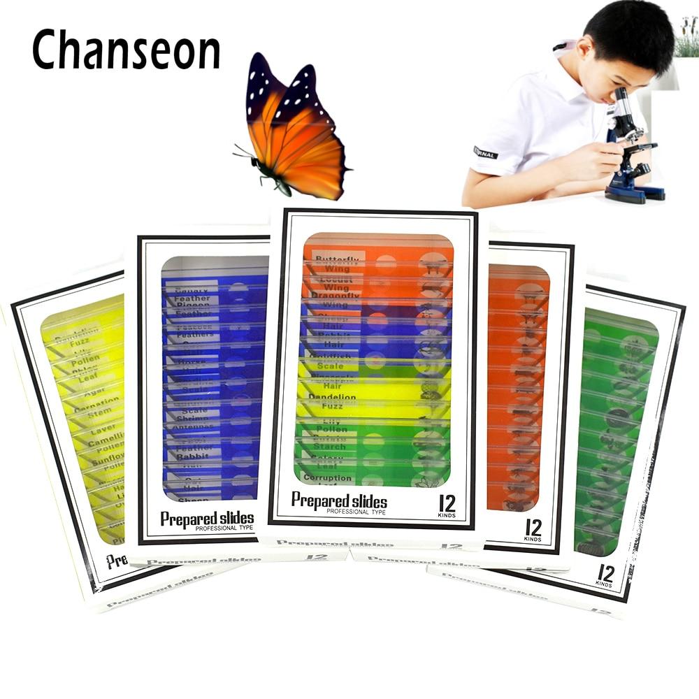 Chanseon 12pcs/set  Plastic Microscope Slides Biological Specimen With  For Children Student Microscope Enlighten Education