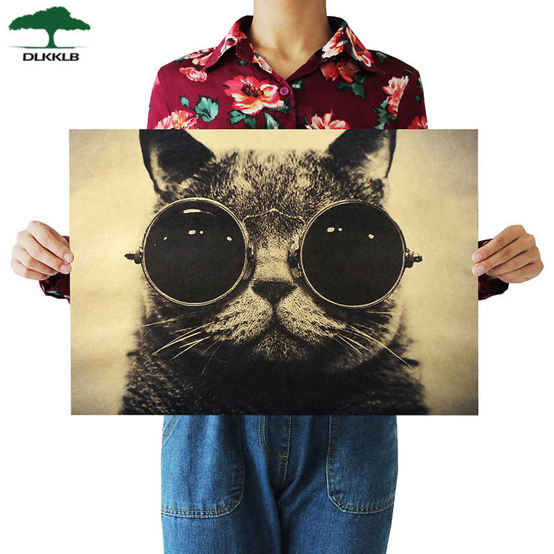 Dlkklb Cool Handsome Cat Sunglasses Rock Animal Kraft Paper Bar Cafe Poster Retro Poster Art Decorative Painting Wall Sticker