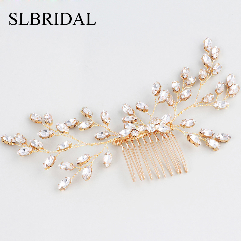 SLBRIDAL Gold Handmade Wired Rhinestones Pearls Wedding Hair Comb Bridal Headpieces Crystal Hair Accessories Bridesmaids Jewelry