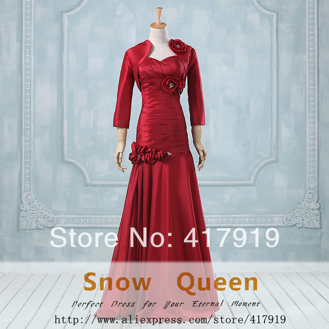 Real 2015 Mermaid Sweetheart 3/4 Sleeve Jacket Bolero Flowers Beads Long Evening Red Mother of the Bride Dress Birthday RM18
