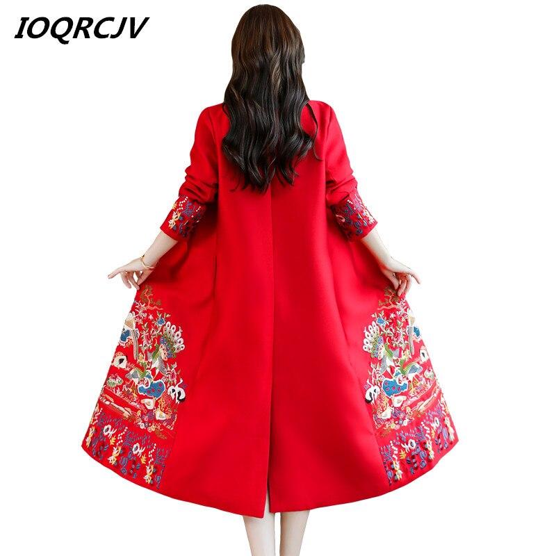 vent Vintage Red Lâche Coupe Longue Mince Femmes Manteau Chinois Élégant Cardigan 2019 L228 coat Automne Vent National Broderie Trench navy De qwHOOvX1x