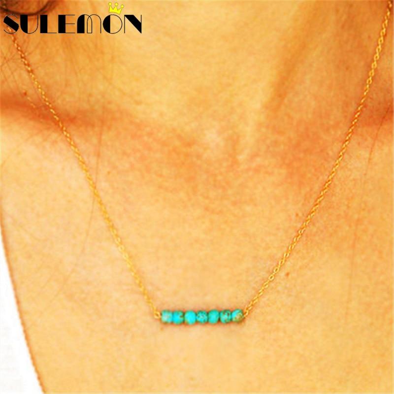 Türkis Halskette für Frauen Gold und Silber Farbe grüne Perlen - Modeschmuck - Foto 1