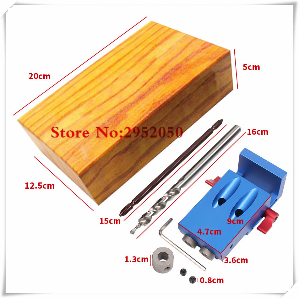 Free shipping Pocket Hole Jig Kit System For Wood Working & Joinery + Step Drill Bit & Accessories Wood Work Tool Set woodworking tool pocket hole jig woodwork guide repair carpenter kit system with toggle clamp and step drilling bit k527