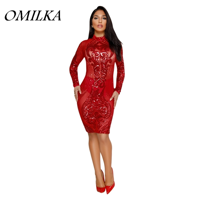 OMILKA 2018 Spring Women Long Sleeve O Neck Zipper Sequin Bodycon Dress  Sexy Red Black Green White Bling Club Party Midi Dress e5466104b
