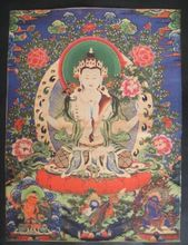 ibet Antique Buddha meditation thangka silk brocade tibetan