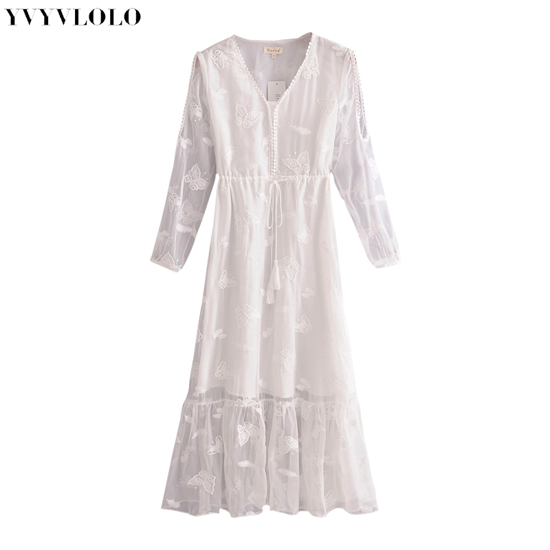 YVYVLOLO 2018 Summer Butterfly embroidered White Dress Retro Sexy Maxi Beach Dress V nec Klong Casual