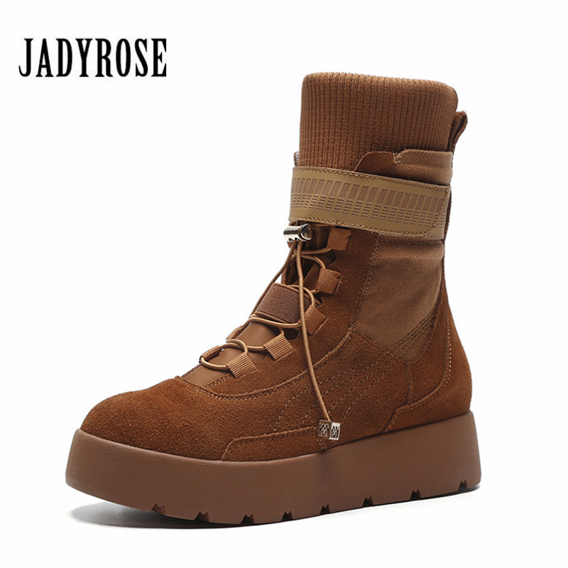 Jady Rose De Mode En Daim Casual Chaussures Plates Femmes Plate-Forme Cheville Bottes Dames Tricot Court Botas Mujer Martin Bottes Creepers