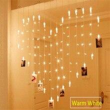 AC220/110 В 2x1,5 м 128LED 34 фото зажима в форме сердца струнный светильник s праздничный светильник Рождество Свадьба украшение дома занавеска