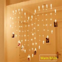 AC220/110 V 2x1.5M 128LED 34 Foto clip Clips Hartvorm String Verlichting Vakantie Licht Kerst bruiloft Home Decoratie Gordijn
