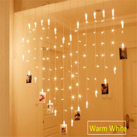 AC220V 2x1 5m Heart Shape 128LED 34 Lamp Clips Photo String Lights Holiday Light Christmas Wedding