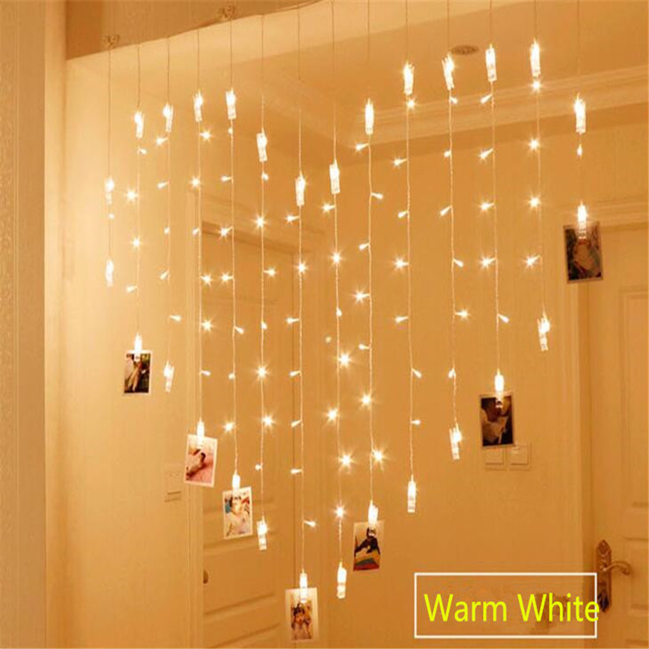AC220V 2x1.5m Heart Shape 128LED 34 Lamp Clips photo String Lights Holiday Light Christmas Wedding Home Decoration Curtain