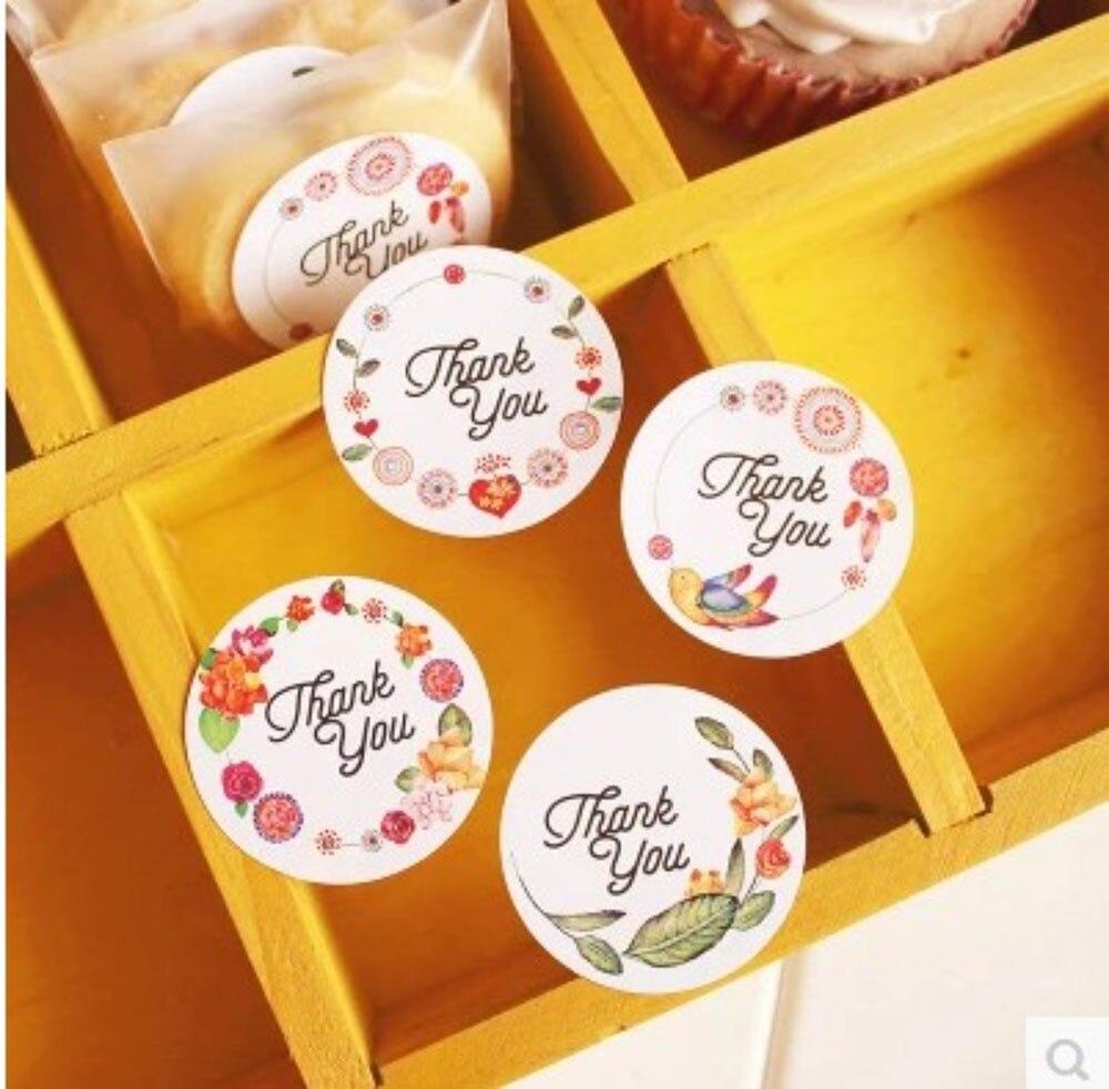 120pcs/10sheets Flower Thank You Adhesive Baking Seal Sticker Cake Box Sealing Label Handmade