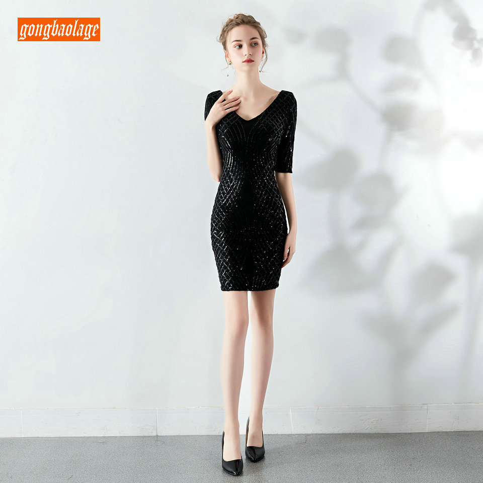 Sexy Women Black   Cocktail     Dresses   2019 Dark Navy Pageant Formal Party Gowns Scoop Sequined Zipper Slim Fit Reflective Prom   Dress