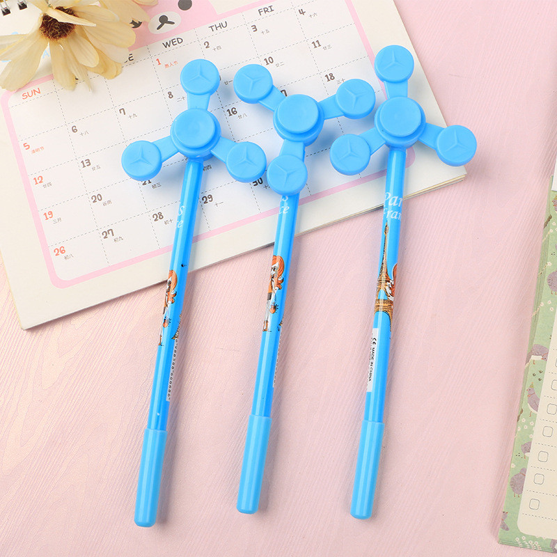 Creative Fidget Finger Spinner Gel Pen Stationery Store Cute Kids Toy Escritorio Stationary School Tool Material Thing Item Shop