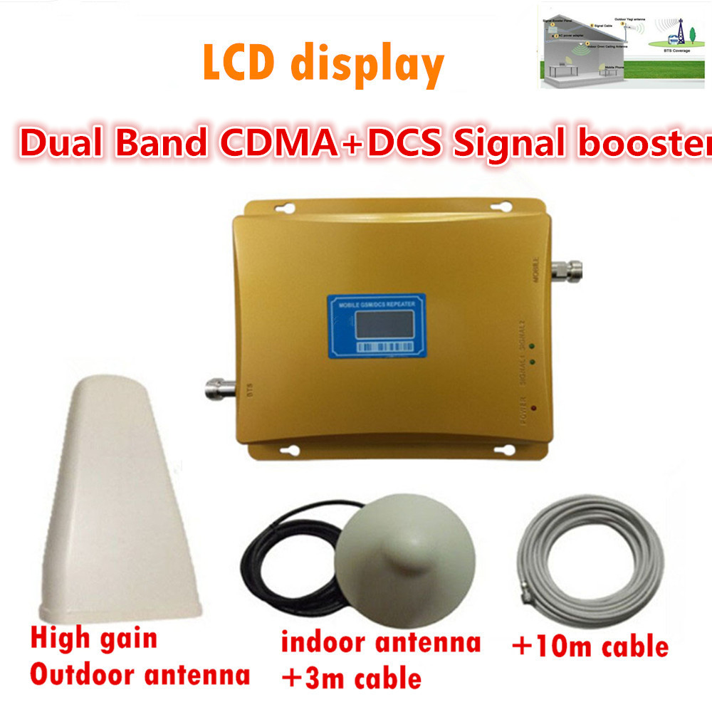 LCD Display DCS 1800MHz CDMA 850Mhz Dual Band Mobile Phone Signal Booster Cell Phone 2g 4g wifi 4G LTE Signal Repeater + Antenna