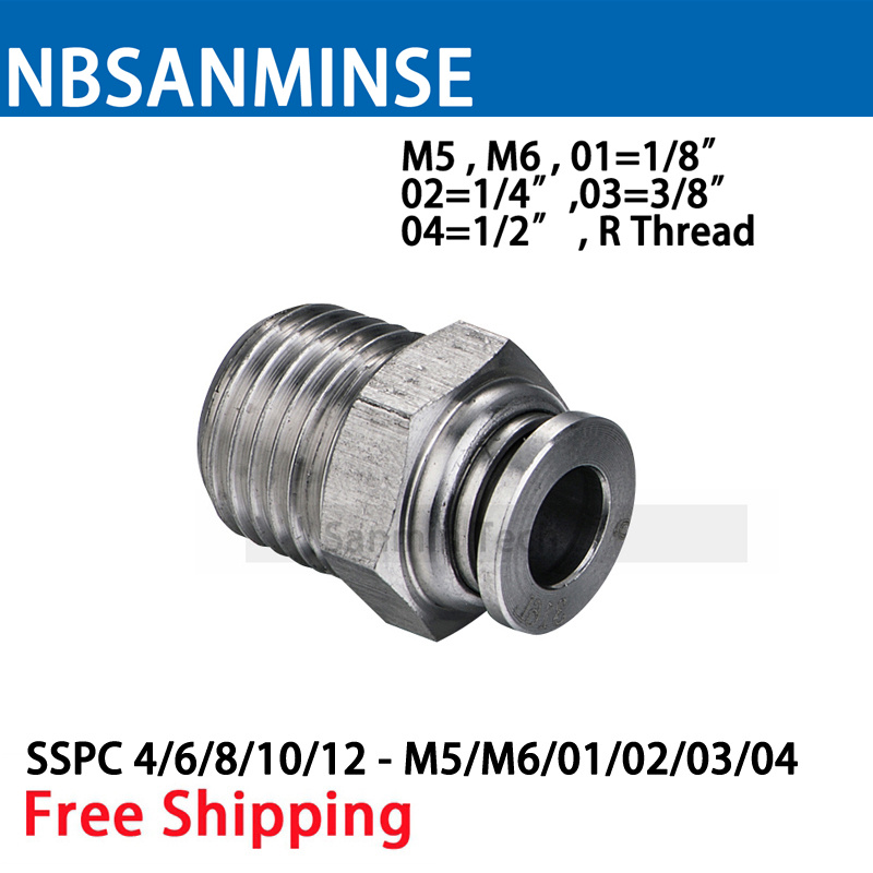5Pcs/lot SSPC M5 M6 1/8 1/4 3/8 1/2 Coupling SS316L Pneumatic Stainless Steel Food Grade Fitting Push In Male Straight Sanmin 1kg food grade l threonine 99% l threonine