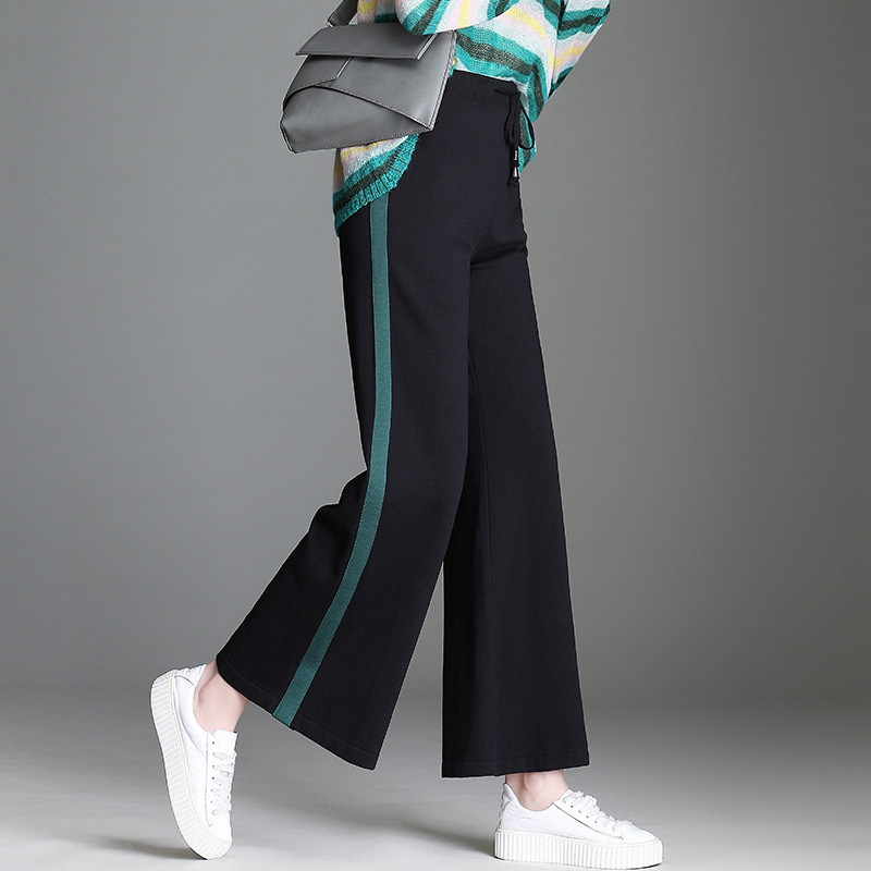 Suede Ice Silk Mid Waist Wide Leg Pants Capris Women Bottom Sash Streetwear Casual Pants 2019 Spring Chic Summer Trousers