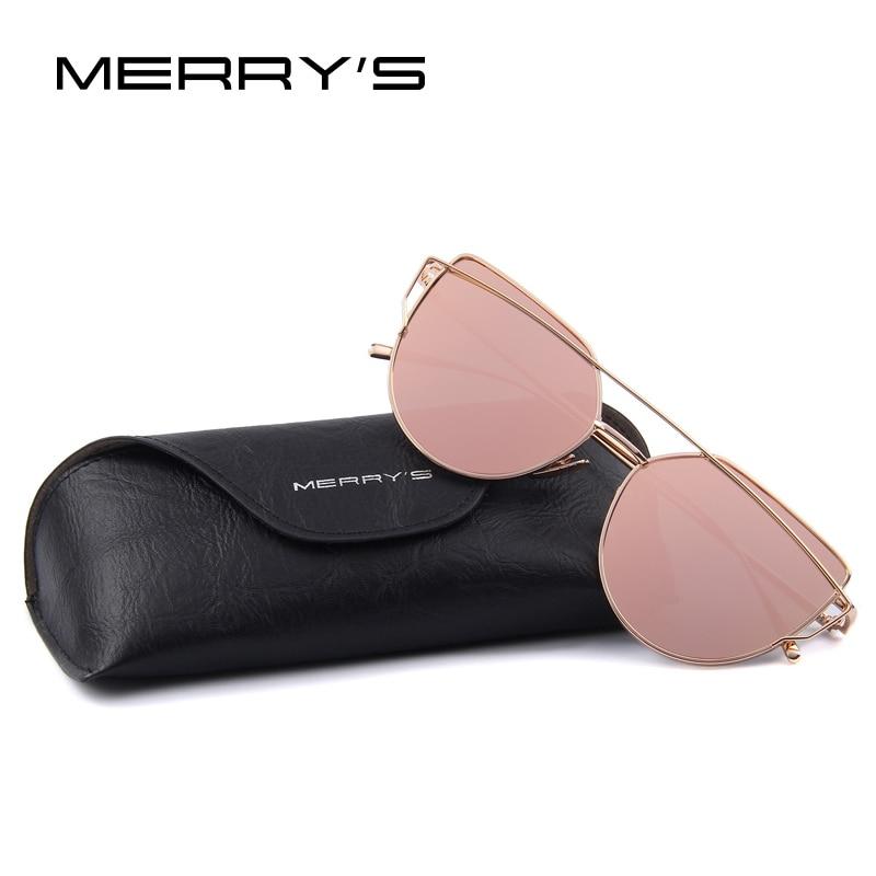 MERRY'S modes sieviešu kaķu acu saulesbrilles klasiskā zīmola dizaina dvīņu sijas saulesbrilles pārklājuma spogulis plakans panelis objektīvs S'7882