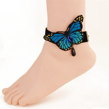 SEA MEW Fashion Concise Style Blue Butterfly Flannelette Anklets For Women Chain Anklet Bracelets Gift LS42