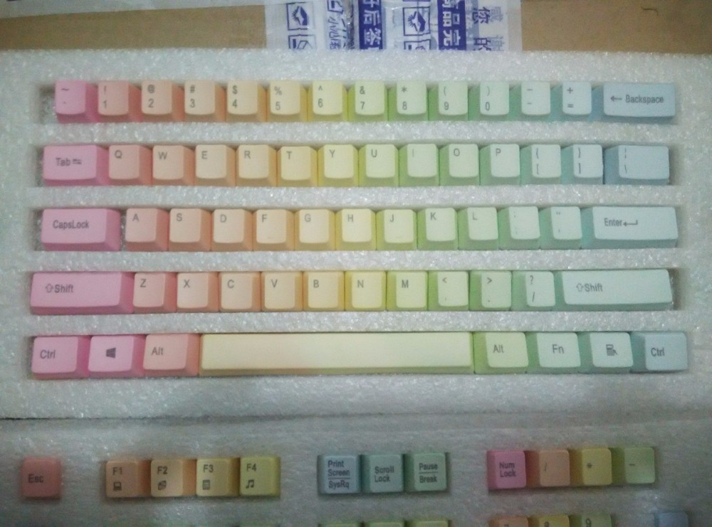 104 PBT <font><b>keycaps</b></font> for mechancial <font><b>keyboards</b></font> rainbow color 104 keys TKL poker <font><b>60</b></font>% mini <font><b>keyboard</b></font> image