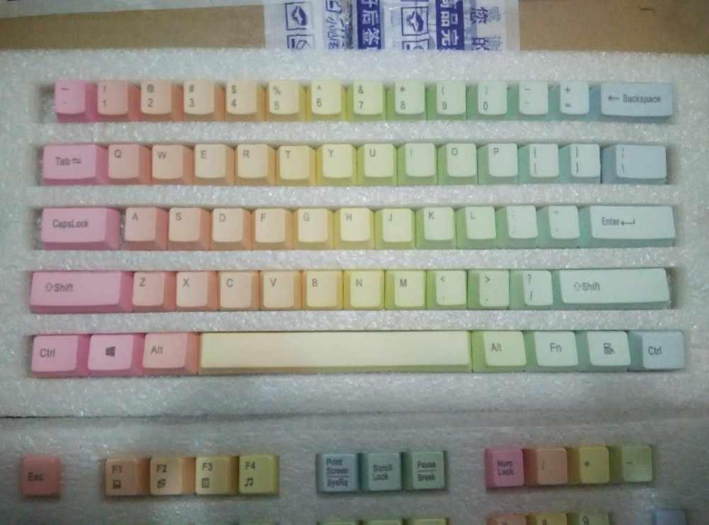Kunci Mekanis Pelangi PBT Keycap Mekanis Keyboard Tombol 104 ANSI Ceri MX Pelangi Keycaps untuk Permainan Keyboard