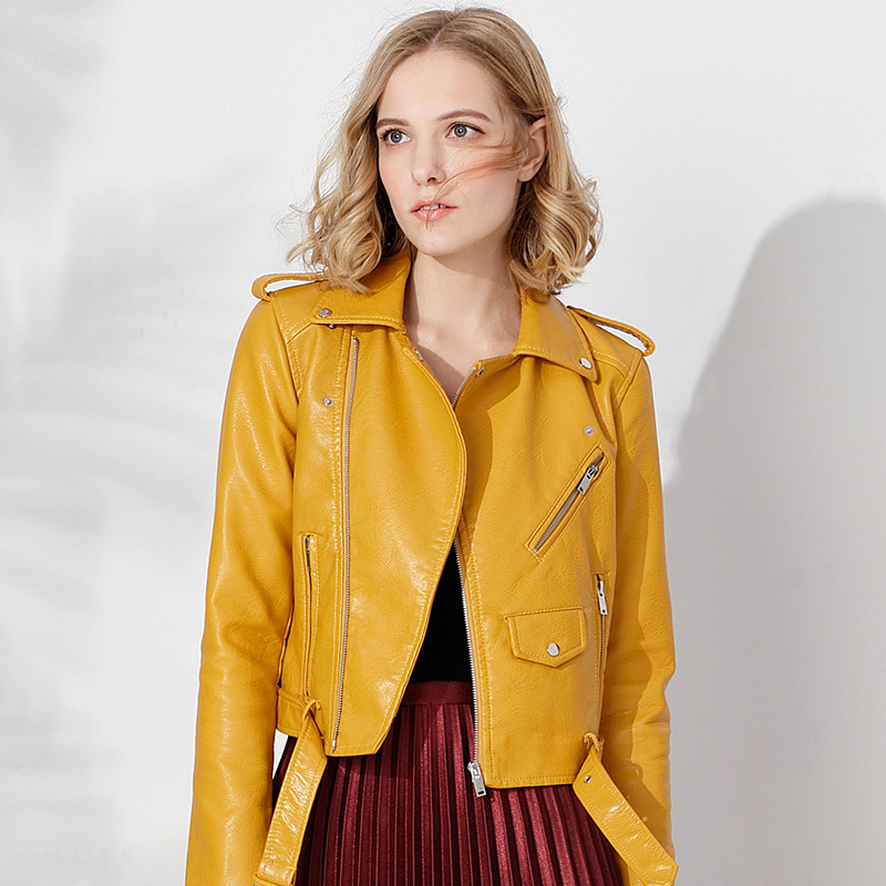New 2018 Spring   Leather   Jacket Women Perfecto Washed PU Faux   Leather   Lady Motorcycle Bikers Coats Jaqueta De Couro AS0001