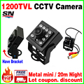 11.11 Big Sale!Mini Night Vision Camera 1/3CMOS 1200TVL IR leds HD CCTV Security Surveillance Metal Bracket Indoor Color Video