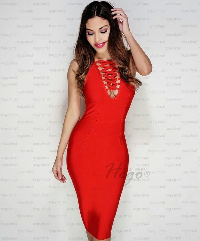 Sexy Women Dress Sleeveless Red Black Solid Criss Cross Neck Bandage Dress