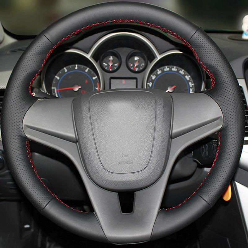 Free Shipping High Quality cowhide Top Layer Leather handmade Sewing Steering wheel covers protect For Chevrolet Cruze/Aveo/Trax
