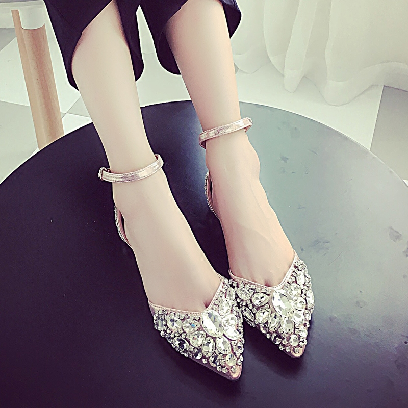 Baotou Sandals Female Flat Bottom 2018 Spring Summer New Hollow Drill, Single Buckle Shoes, Shallow, Sharp Pointed, Womens ShoeBaotou Sandals Female Flat Bottom 2018 Spring Summer New Hollow Drill, Single Buckle Shoes, Shallow, Sharp Pointed, Womens Shoe