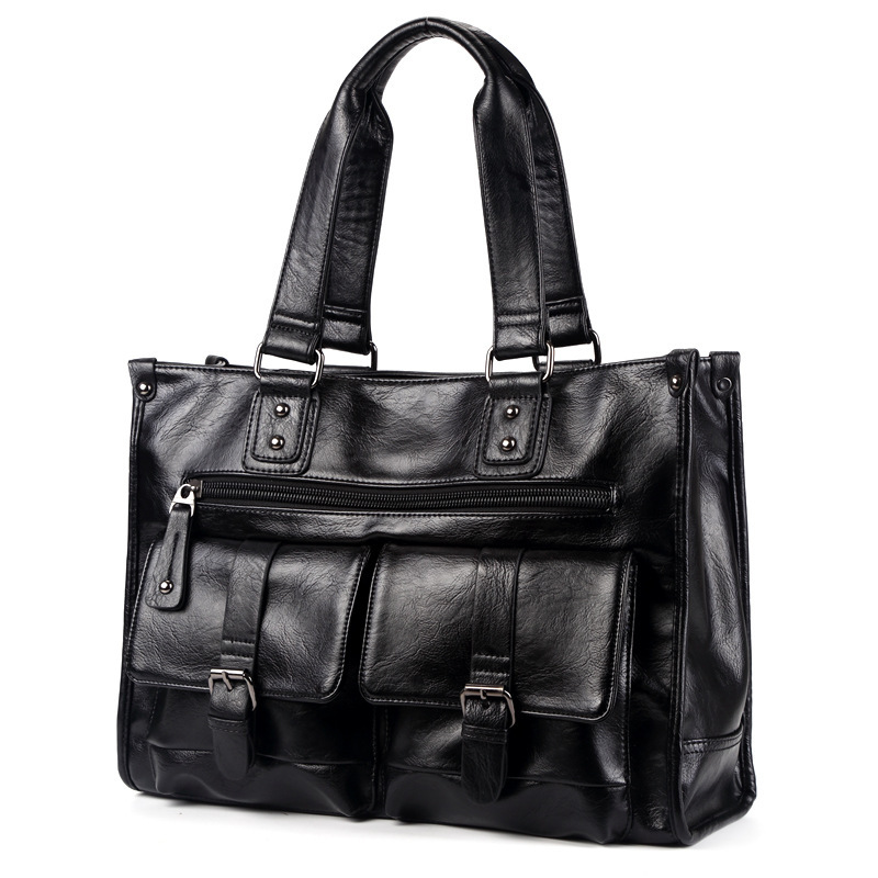 2019 New Men Split Leather Handbag Zipper Men Business Messenger Bags Pocket Soft Handle Laptop Briefcases Bags
