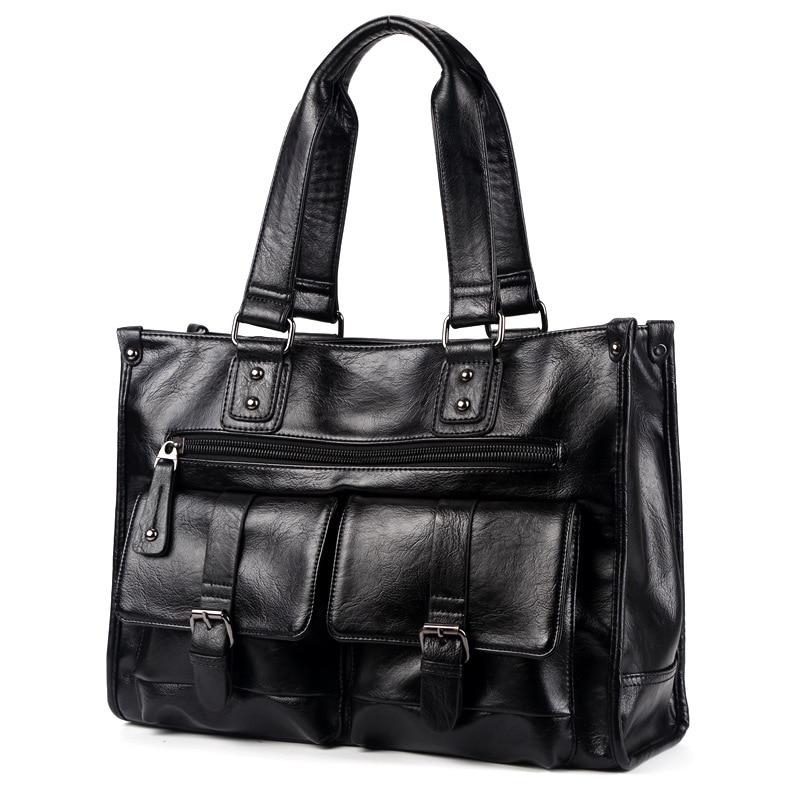 2019 New Men Split Leather Handbag Zipper Men Business Messenger Bags Pocket Soft Handle Laptop Briefcases Bags