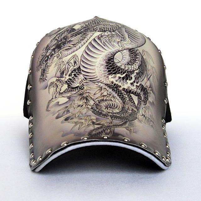 Teste padrão do dragão dos homens boné de beisebol ajustável cap casual homens verão outono moda de rua do punk hiphop chapéu M02