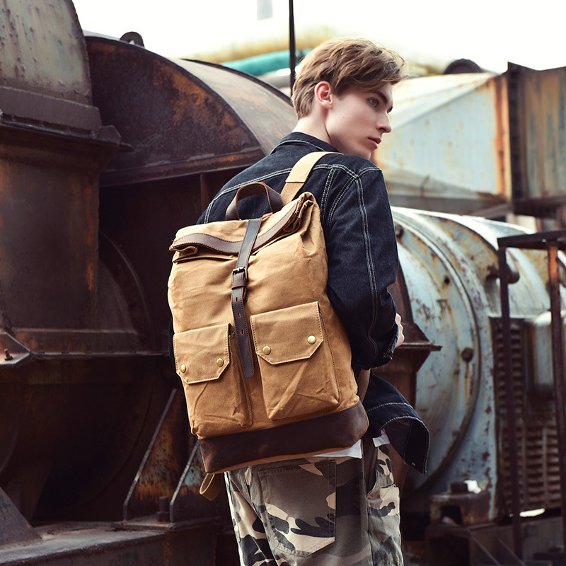 Brand Designer High Quality Men Wax Canvas Outdoor School Travel Backpack Teenage Classic Retro Large Laptop