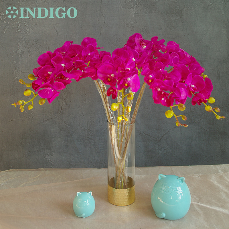 ᗐindigo Phalaenopsis Orchid Silk Real Touch Artificial Flower