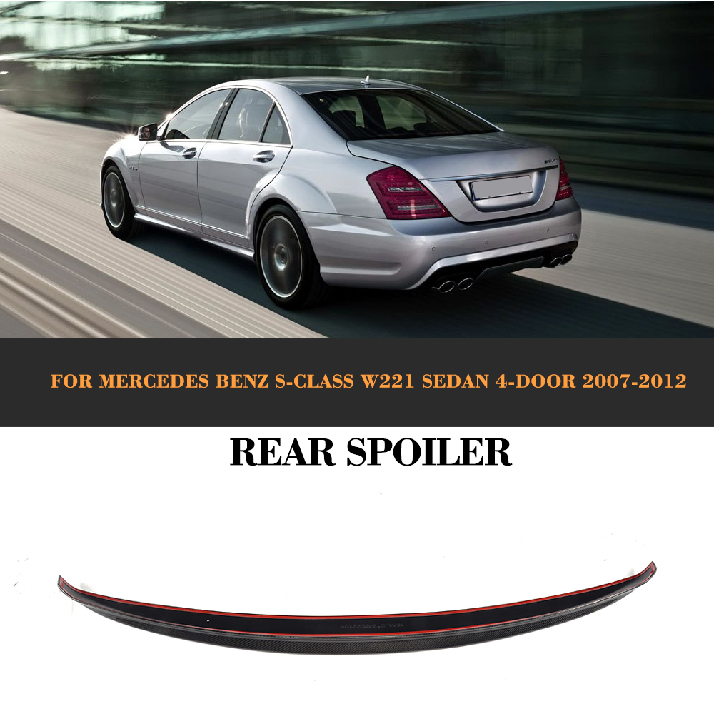 S Class Carbon fiber Rear Trunk Spoiler Wing for Mercedes Benz W221 Sedan 4 Door Only 07-12 S450 S500 S600 S63 AMG Car Cover for mercedes benz w221 s class s350 s400 s500 s550 s600 s63 s65 amg excellent multi color ultra bright rgb led angel eyes kit