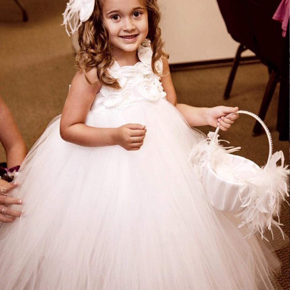 Cute Flower Girl Dress Straps Square Collar Vestido de Daminha Junior Bridesmaid Lace Tulle Ball Gowns Wedding Dresses Size 2-12 вечернее платье mermaid dress vestido noiva 2015 w006 elie saab evening dress