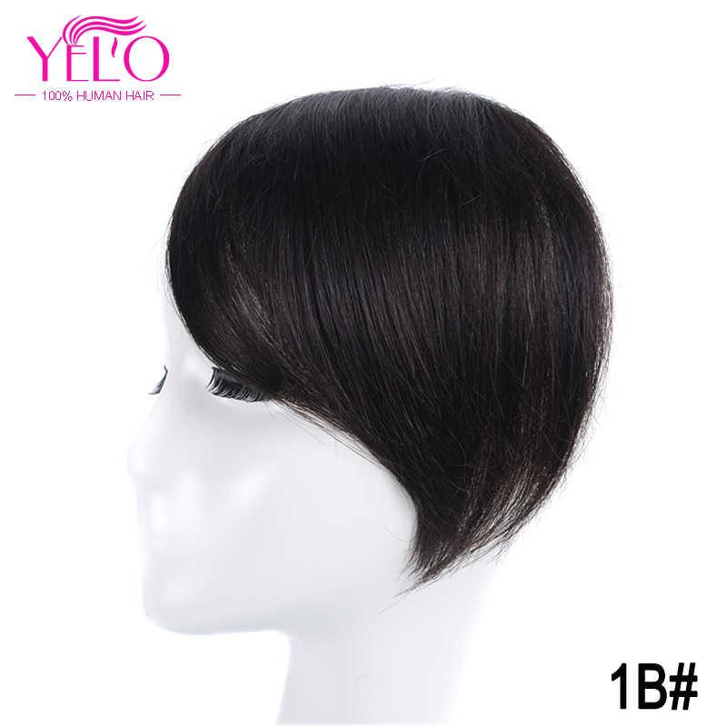 YELO бразильские волосы remy Клип В челке человеческих волос Расширения 1b #2 #4 #613 # красный #27/613 # клип на челку волос Топпер