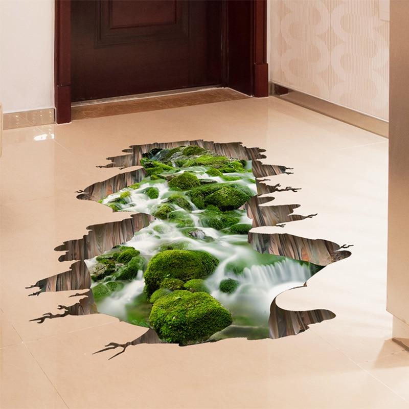 [SHIJUEHEZI] 3d Creek padló matricák zöld színáram matrica gyerekeknek Szoba hálószoba Nappali Konyha dekoráció