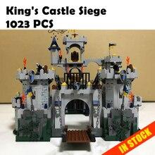 Modelo de construção de brinquedos e hobbies 16017 1023 pcs Compatível com Lego Castle Siege Figura Tijolos Educacionais blocos Castelo 7094 do Rei